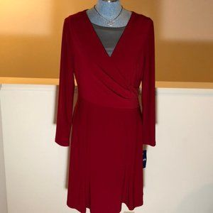 Chaps NWT red wrap long-sleeve dress, large